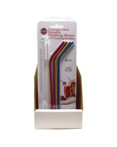 4 STAINLESS STEEL METALLIC DRINKING STRAWS W/2 CLEANING BRUSHES, 24 PC DSP