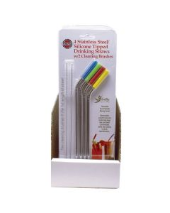 4 STAINLESS STEEL SILICONE TIPPED DRINKING STRAWS W/2 CLEANING BRUSHES, Carded, 24 PC DSP
