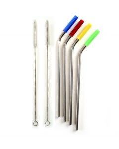 Norpro Silicone Tipped Stainless steel Straw set