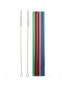 Norpro stainless steel metallic smoothie straws w/2 cleaning brushes