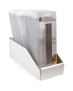 """STAINLESS STEEL 8.5"""" STRAIGHT STRAWS W/2 CLEANING BRUSHES, Carded, 24 PC DSP"""
