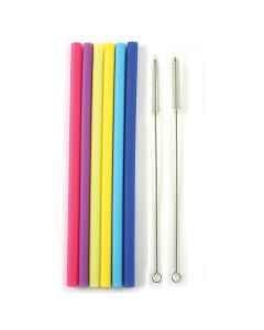 norpro  REUSABLE SILICONE STRAIGHT STRAWS W/ 2 CLEANING BRUSHES