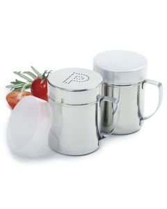 Norpro stainless steel salt/pepper shaker set with handles