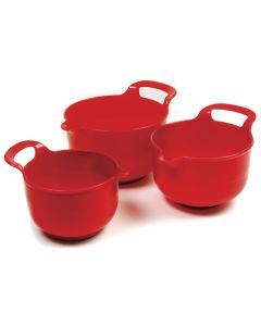 Norpro Plastic Mixing bowls, Red, 3 piece set, Red