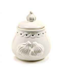 White Stoneware Garlic Pot, Garlic Keeper