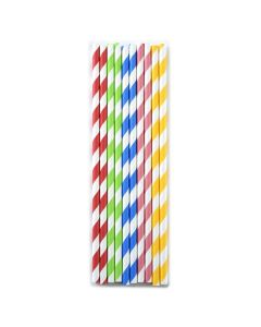 PAPER PARTY STRAWS, STRIPES, ASSORTED COLORS, 100PCS