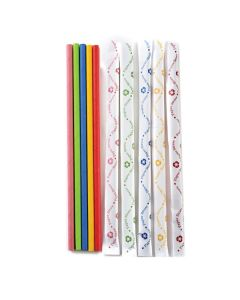 Norpro Paper Party Straws, Wrapped, ASST colors, 100pcs