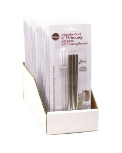 4 STAINLESS STEEL DRINKING STRAWS W/2 CLEANING BRUSHES, Carded, 24 PC DSP
