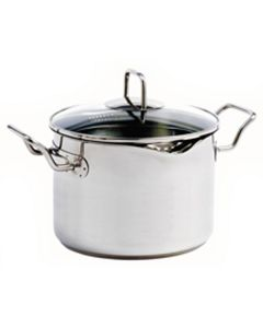 Norpro Krona® 7.5Qt/7.2L Stainless steel vented cooking pot with glass straining lid