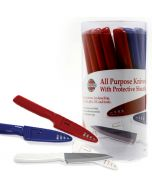 Norpro All Purpose Knives, display of three colors, red, white and blue