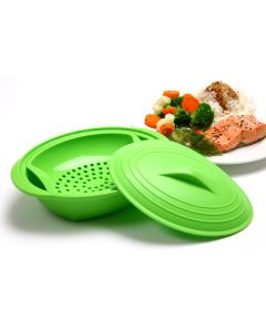 SILICONE STEAMER WITH INSERT, GREEN