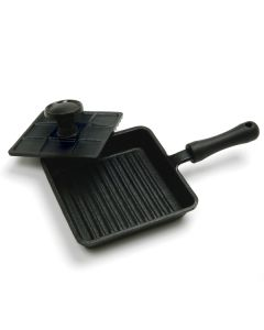 Norpro Pre-Seasoned Cast Iron Panini Pan With Press