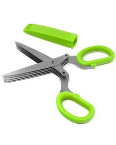 MULTI-BLADE HERB SCISSORS WITH BLADE CLEANER, GREEN