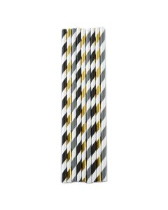 Norpro Paper Party Straws, stripes, gold, black, gray