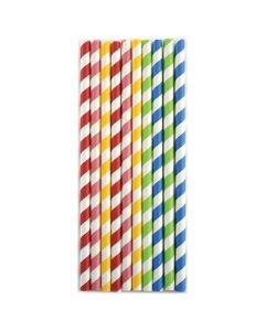 Norpro Paper Party Smoothie Straws, Stripes, Asst. Colors, 100pcs