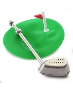 S/S TEE TIME GOLF CLUB TEA INFUSER W/CUP COVER/DRIP CATCHER
