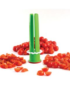 Norpro Veggie Tube Cutting Guide with tomatoes