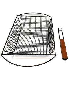 NONSTICK DELUXE GRILL BASKET WITH REMOVABLE HANDLE
